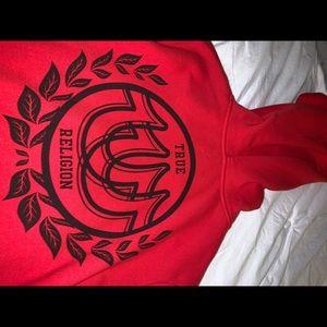 True religion red zip up hoodie